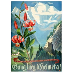 Original Vintage Poster 650 Years Swiss Confederation Mountain River Lily Flower