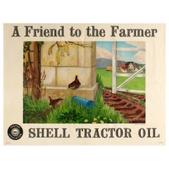 Original Vintage Poster A Friend To The Farmer Shell Tractor Oil Wrens Farm View