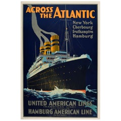 Original Vintage Poster Across The Atlantic Ocean Liner Cruise Travel Ship HAPAG