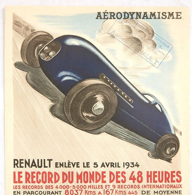 Original vintage motorsport poster published by Renault to celebrate their car racing records featuring a dynamic Art Deco style illustration of an elegant and sleek modern dark blue Renault racing car driving at speed on a track with the heading