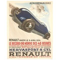 Original Vintage Poster Aerodynamisme Renault Motor Sport Car Racing Record 48hr