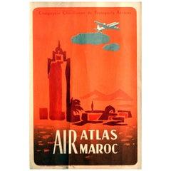Original Vintage Poster Air Atlas Maroc Casablanca Morocco Aviation Travel Art