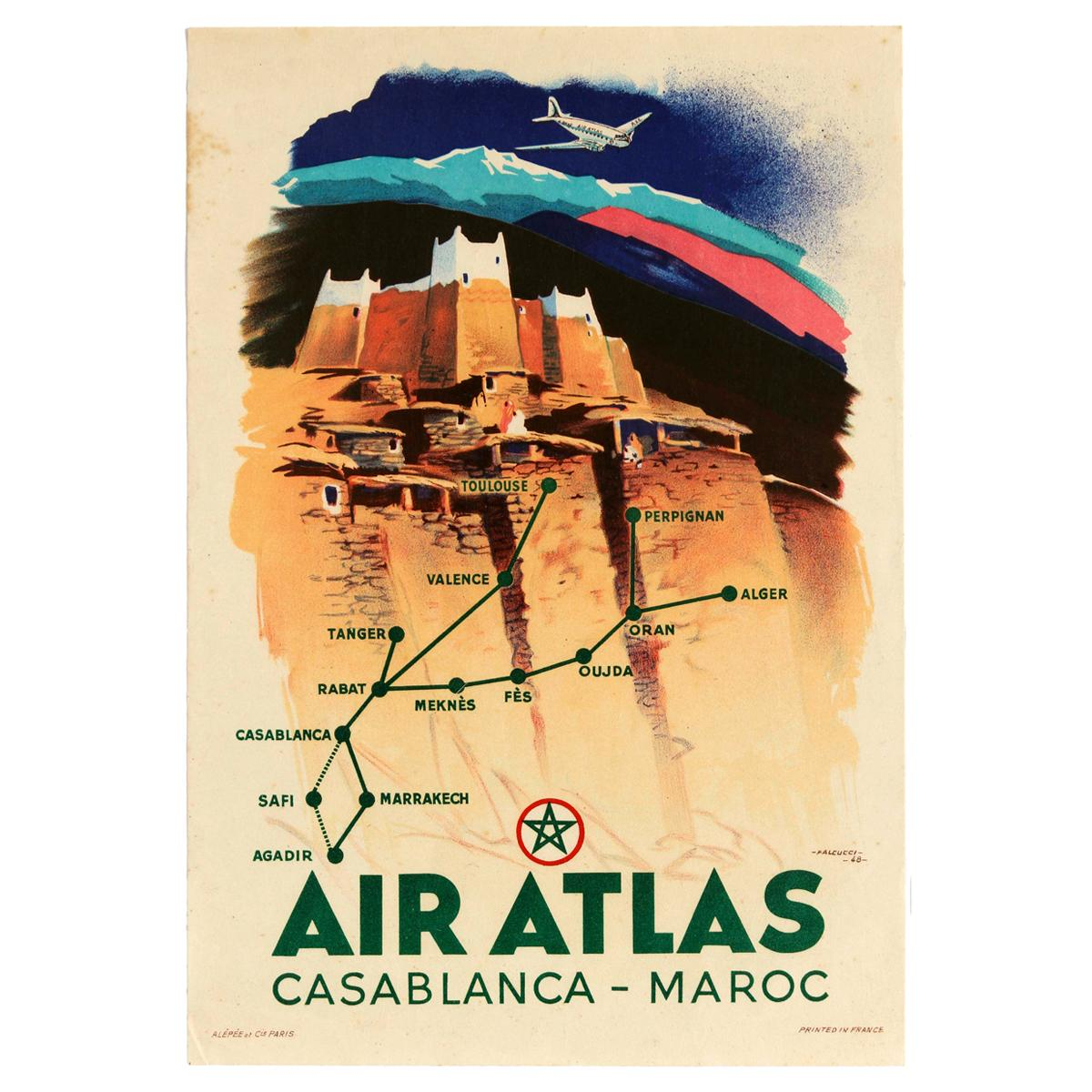 Original Vintage Poster Air Atlas Mountains Travel Map Casablanca Morocco Maroc
