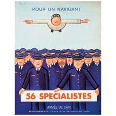 Original Vintage Poster Air Force Pilot Recruitment Armee De l'Air Flying Design