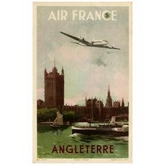 Original Vintage Poster Air France Angleterre England London Travel Art Affiche