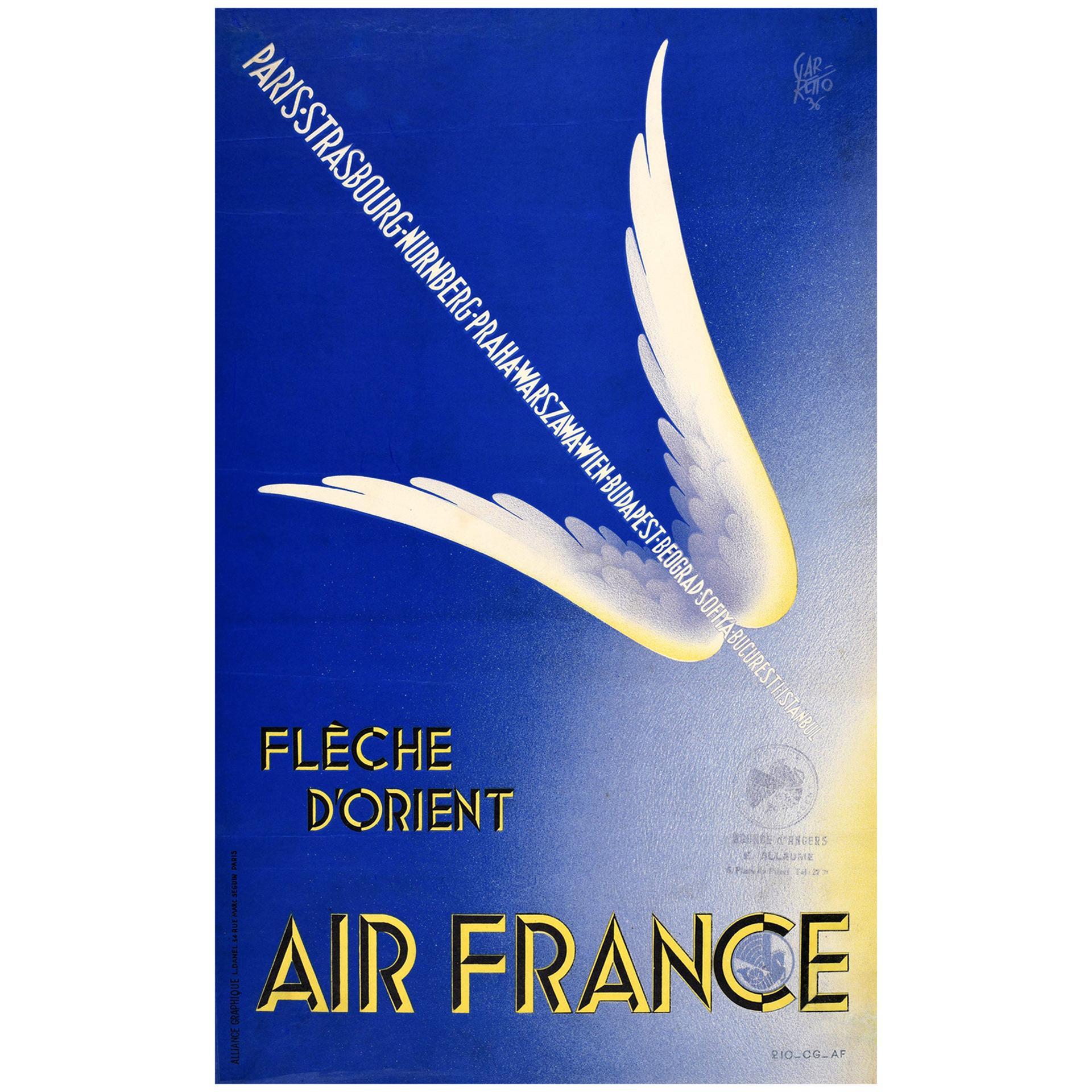 Original Vintage Poster Air France Fleche D'Orient Winged Arrow Design Travel