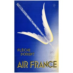 Original Vintage Poster Air France Fleche D'Orient Winged Arrow Design Travel