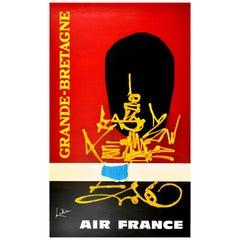Original Vintage Poster Air France Grande Bretagne Britain Travel Abstract Art