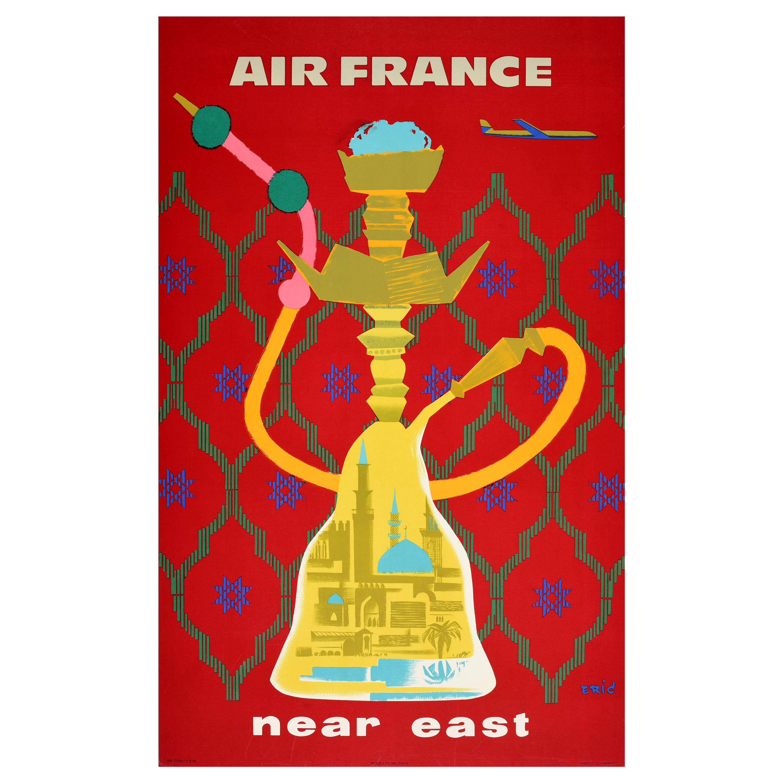 Original Vintage Poster Air France Near East Hookah Smoking Pipe Travel Design
