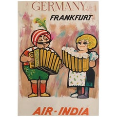 Original Vintage Poster, Air India Frankfurt, Iconic Travel Poster, 1950s