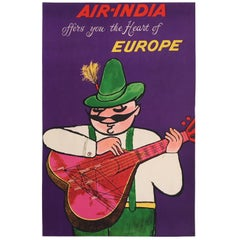 Original Vintage Poster, Air India Heart of Europe, Iconic Travel Poster, 1950s