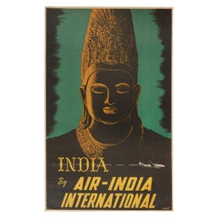 Original Vintage Poster Air India Travel Ft. Buddha Lockheed Constellation Plane