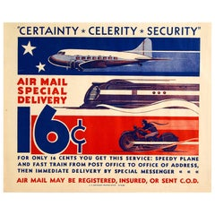 Original Vintage Poster Air Mail Special Delivery US Post Plane Train Motorcycle
