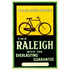 Original Vintage Poster All Steel Bicycle Raleigh Design Bike Advertising Art