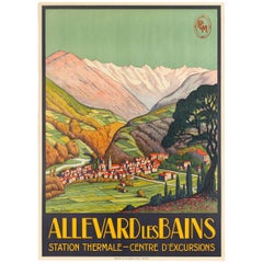 Original Vintage Poster Allevard Les Bains Thermal Spa PLM Railway Travel France