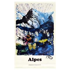 Original Vintage Poster Alps By Dali For SNCF Alpes French Railways Abstract Art