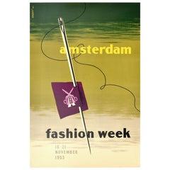 Original Vintage Poster Amsterdam Fashion Week 1953 Midcentury Modern Design Art