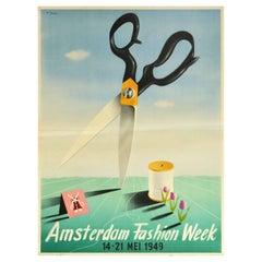 Original Vintage Poster Amsterdam Fashion Week Mid Century Design Sewing Textile