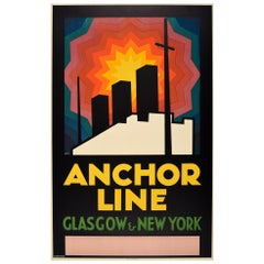 Original Vintage Poster Anchor Line Glasgow New York Modernism Cruise Travel