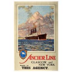 Original Vintage Poster Anchor Line Glasgow New York Ocean Cruise Ship Travel