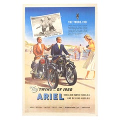 Original Vintage Poster Ariel Motorcycles The Twins Red Hunter Deluxe Models Sea