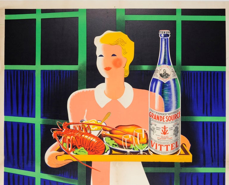 Original vintage drink advertising poster for Grande Source Vittel featuring a great illustration of a lady in an apron holding a tray of food including a lobster and chicken with a bottle of Vittel water and two glasses in front of a green and blue