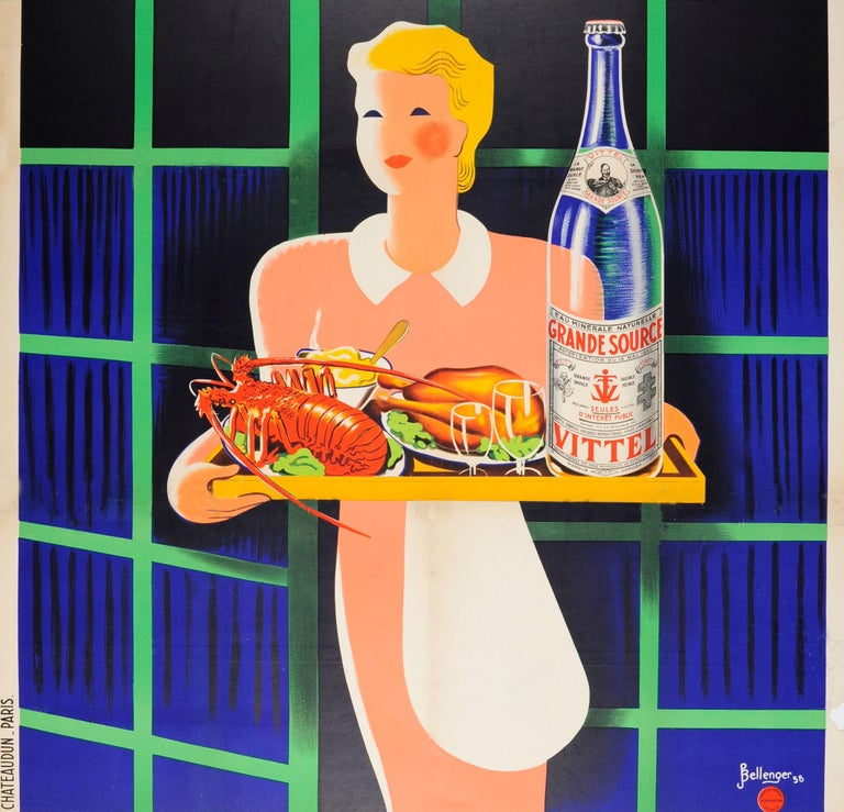 French Original Vintage Poster At Every Meal Grande Source Vittel Mineral Water Drink For Sale