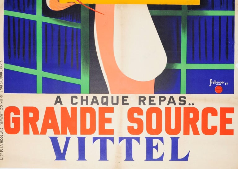 Original Vintage Poster At Every Meal Grande Source Vittel Mineral Water Drink In Fair Condition For Sale In London, GB