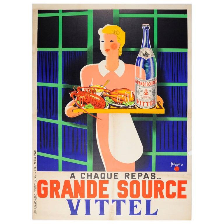 Original Vintage Poster At Every Meal Grande Source Vittel Mineral Water Drink For Sale