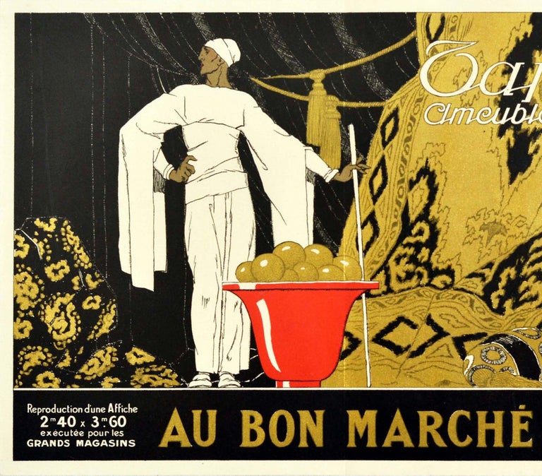 Original vintage advertising poster for Le Bon Marche department store in Paris designed by the influential French Art Deco illustrator Rene Vincent (1879-1936) promoting the home furnishings department featuring a man in white with flowing sleeves