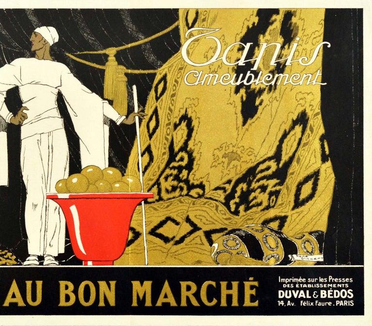 Art Deco Original Vintage Poster Au Bon Marche Home Furnishings Paris Textiles Tapestry For Sale
