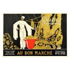 Original Vintage Poster Au Bon Marche Home Furnishings Paris Textiles Tapestry