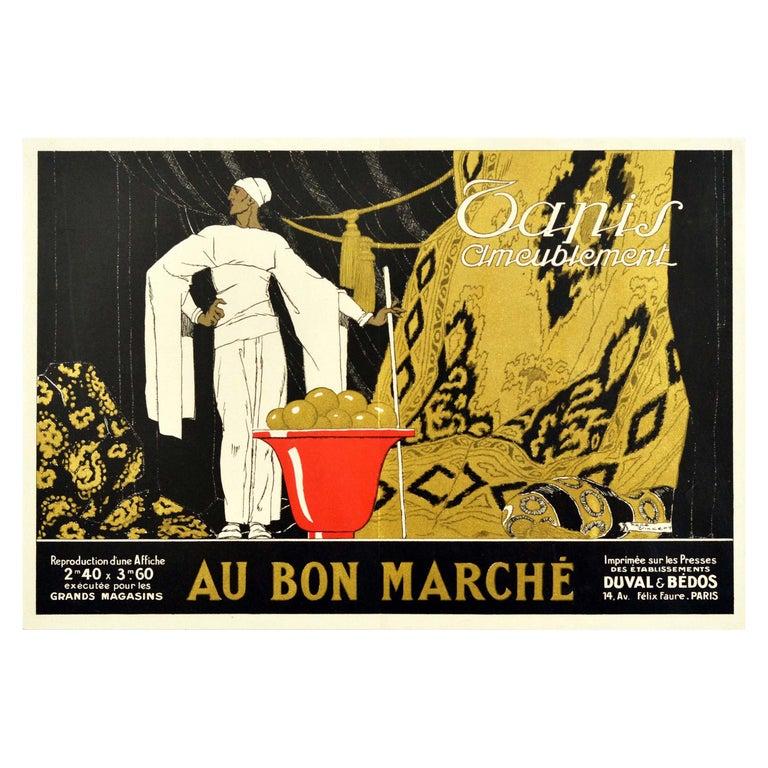 Original Vintage Poster Au Bon Marche Home Furnishings Paris Textiles Tapestry For Sale