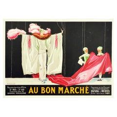 Original Vintage Poster Au Bon Marche Paris Fashion Textiles Fabric Stage Design