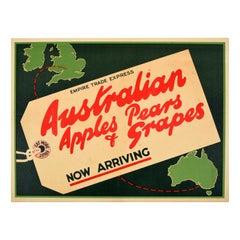 Original Vintage Poster Australia Apples Pears Grapes Fruit British Empire Trade