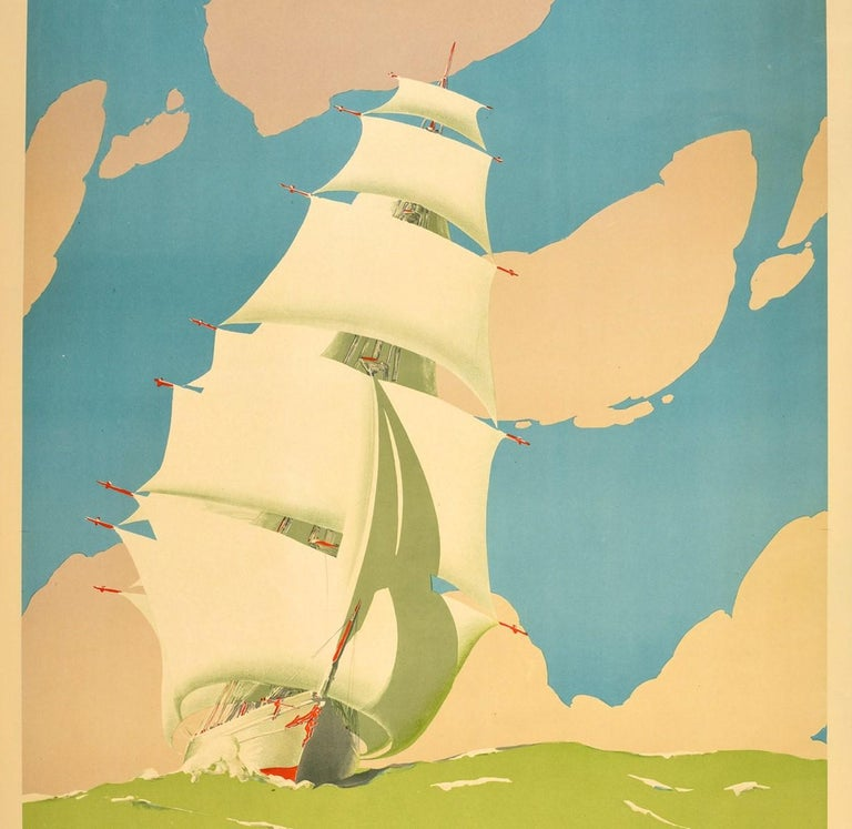 "Original vintage travel poster promoting ""Discover Australia During the Celebrations"", (1934-1935) Victorian & Melbourne Centenary (1934-1935 commencing October) Sydney Festival Fortnight (1934 November). Great artwork by the only Australian artist"