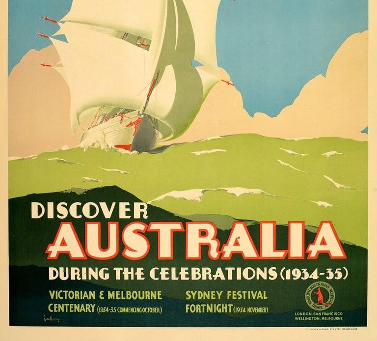 Australian Original Vintage Poster Australia Victorian Melbourne Sydney Festival Tall Ship For Sale