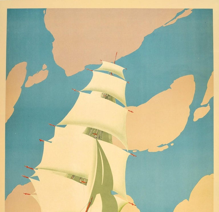 Original Vintage Poster Australia Victorian Melbourne Sydney Festival Tall Ship In Good Condition For Sale In London, GB