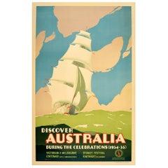 Original Vintage Poster Australia Victorian Melbourne Sydney Festival Tall Ship
