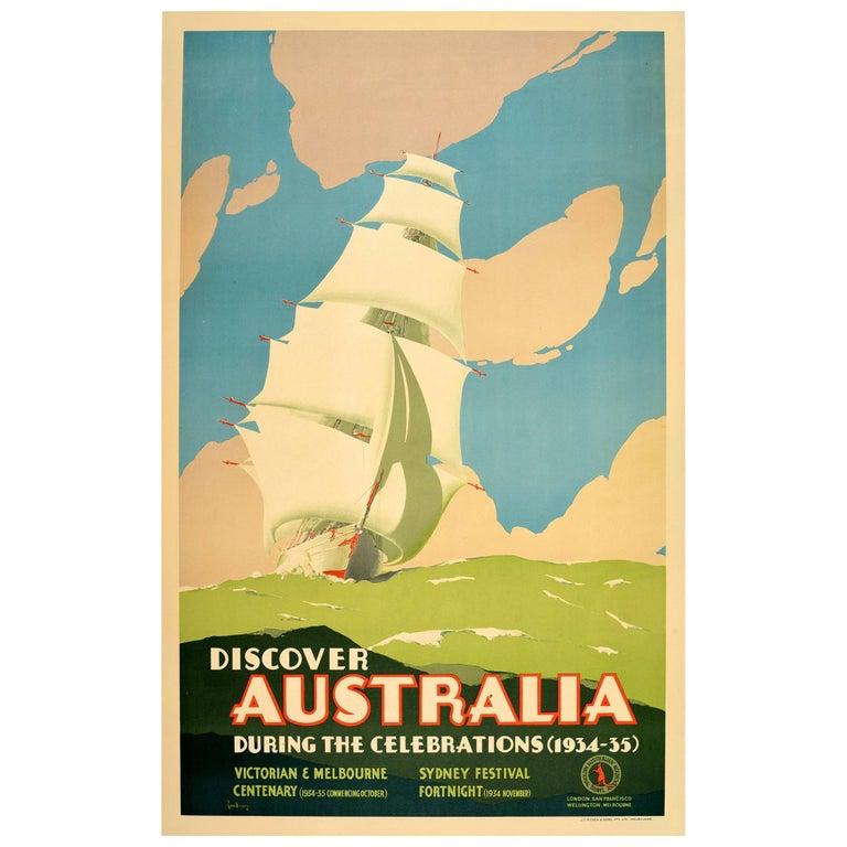 Original Vintage Poster Australia Victorian Melbourne Sydney Festival Tall Ship For Sale