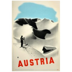 Original Vintage Poster Austria Travel Winter Sport Skiing Mountain Chalet View