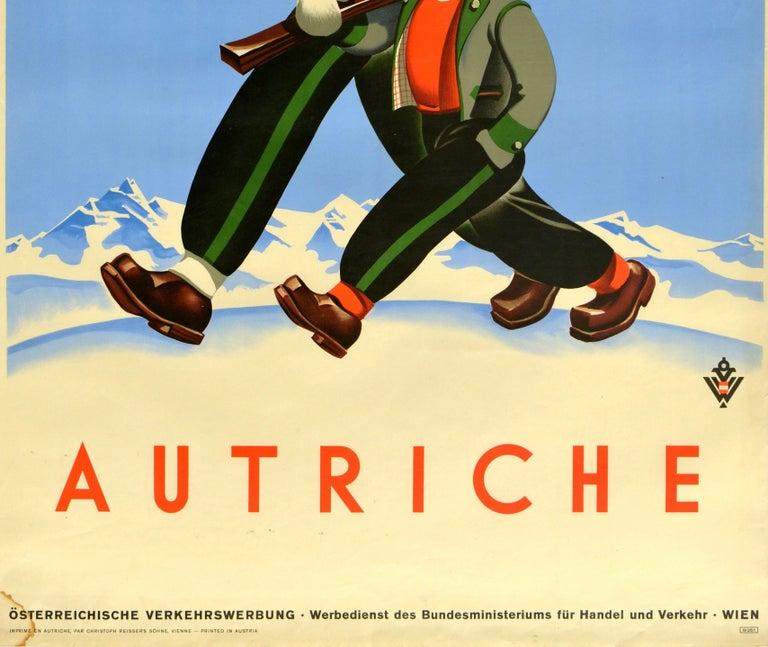 Austrian Original Vintage Poster Autriche Austria Winter Sport Ski Travel Mountain Skier For Sale