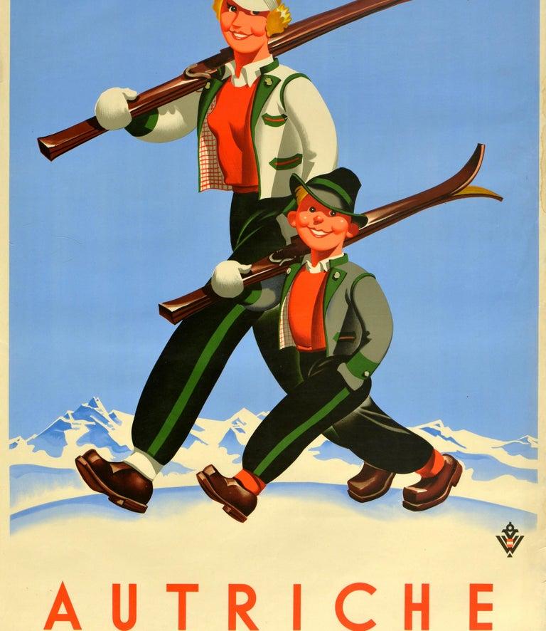Original Vintage Poster Autriche Austria Winter Sport Ski Travel Mountain Skier In Good Condition For Sale In London, GB