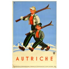Original Vintage Poster Autriche Austria Winter Sport Ski Travel Mountain Skier