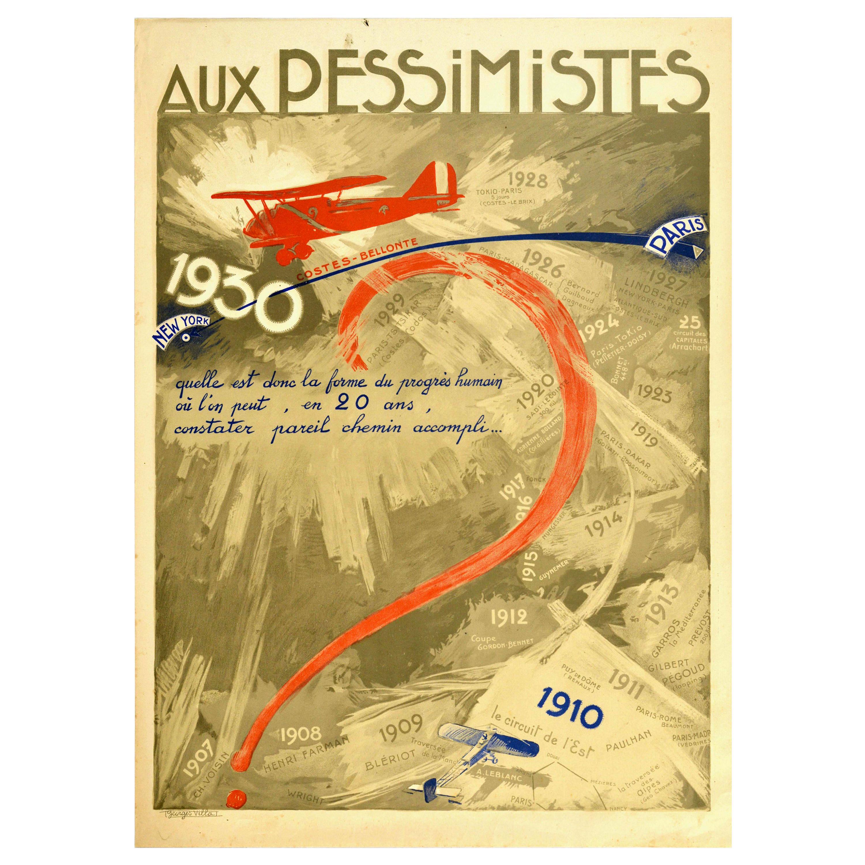 Original Vintage Poster Aux Pessimistes Paris To New York Plane Aviation Record