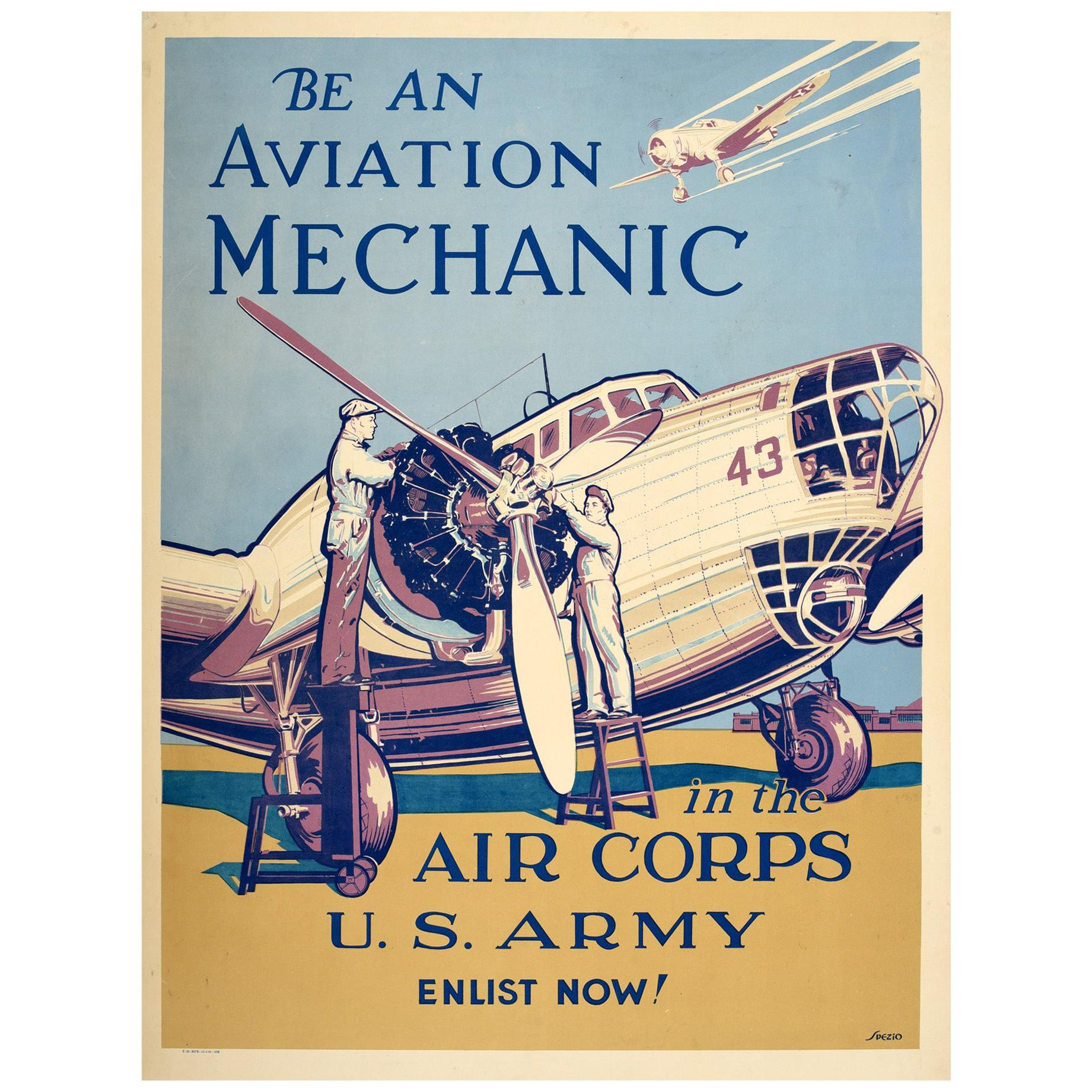 Original Vintage Poster Aviation Mechanic Air Corps US Army WWII Military Plane