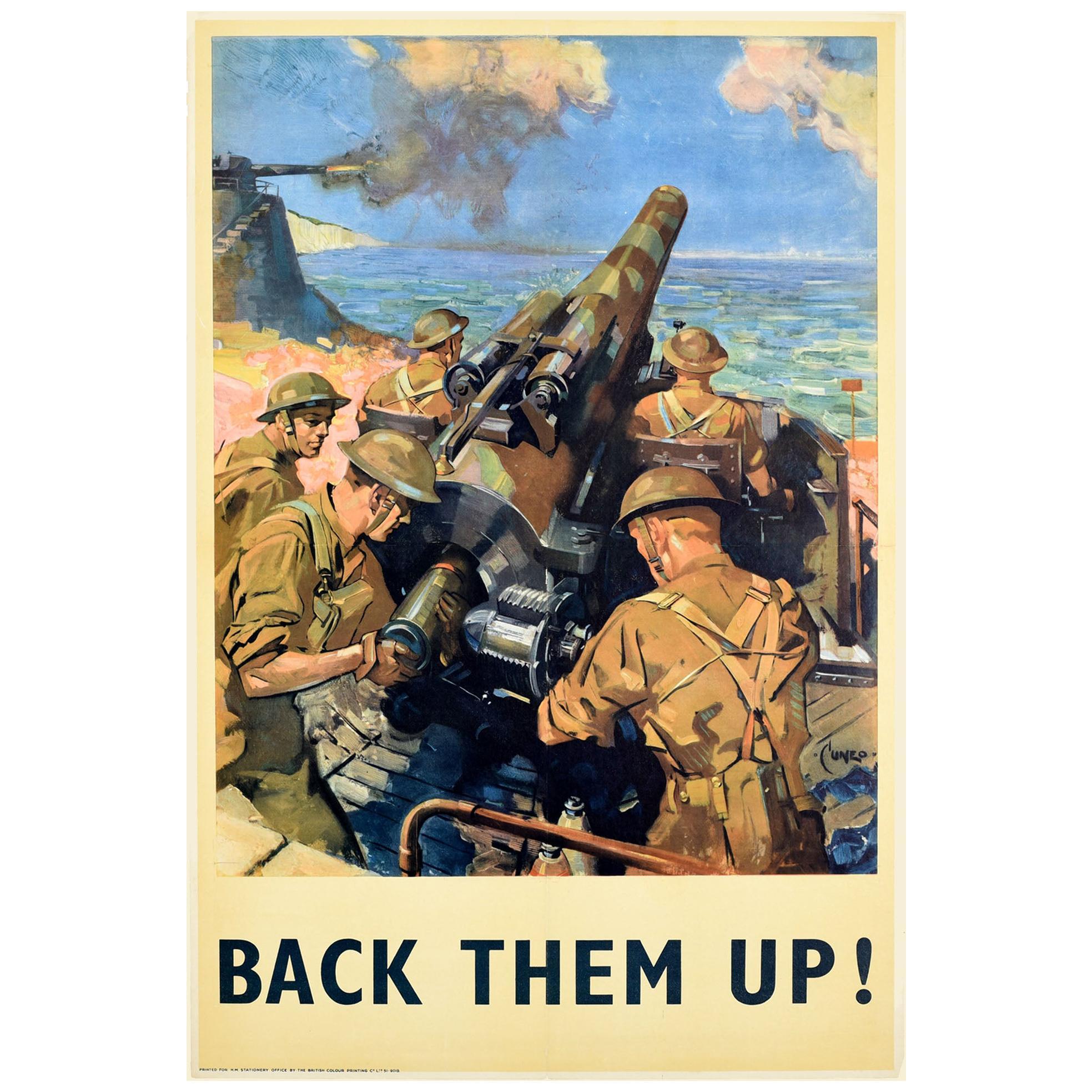 Original Vintage Poster Back Them Up WWII Battle Artillery Coastal Battery Cuneo