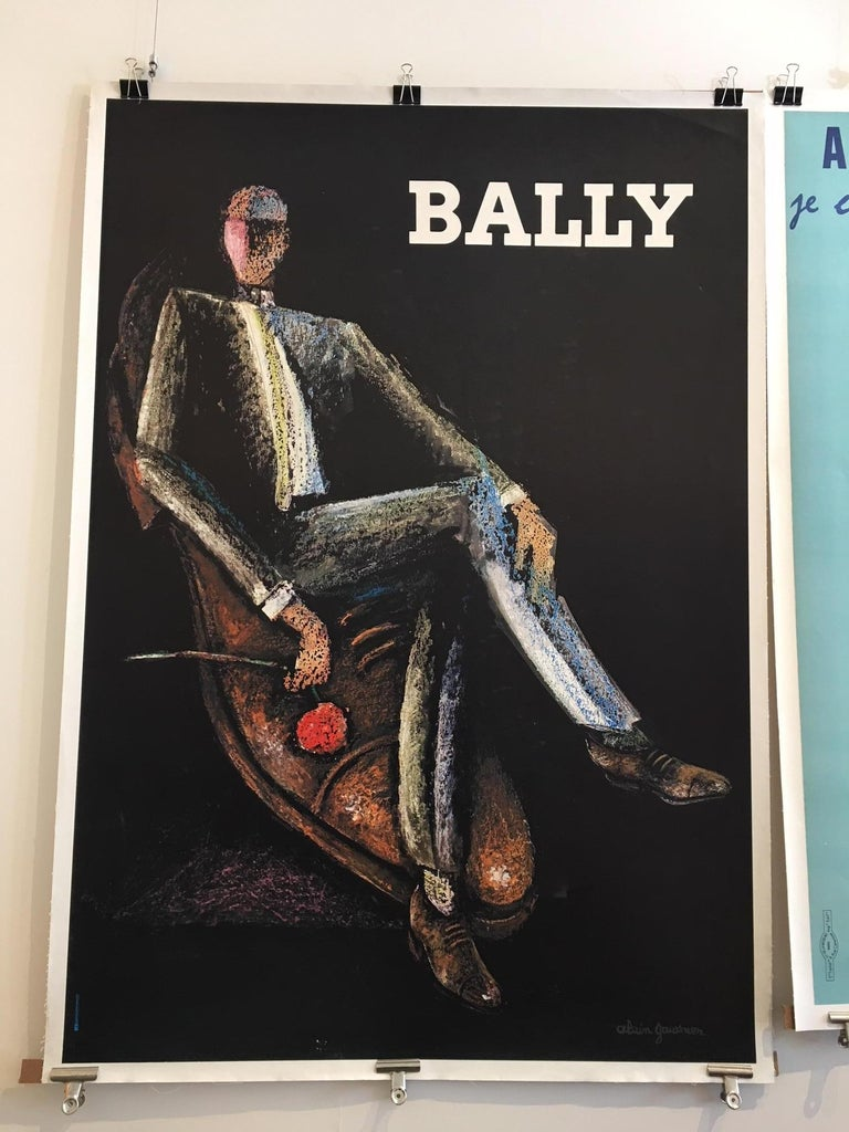 Original Vintage Poster, Bally Rocks Man by Alain Gauthier, 1970 In Excellent Condition For Sale In Melbourne, Victoria