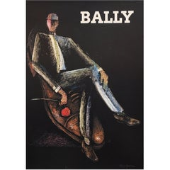 Original Vintage Poster, Bally Rocks Man by Alain Gauthier, 1970