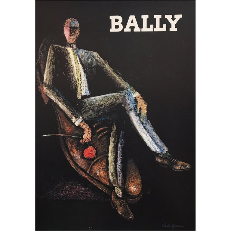 Original Vintage Poster, Bally Rocks Man by Alain Gauthier, 1970 For Sale